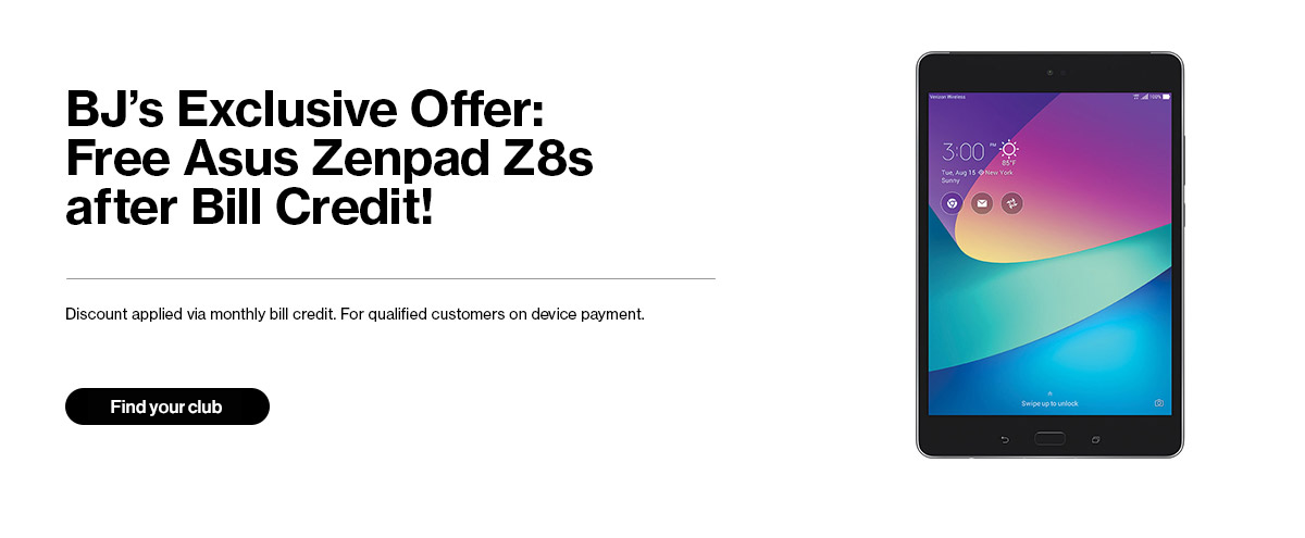BJ's Exclusive Offer: Free Asus Zenpad Z8s after Bill Credit!