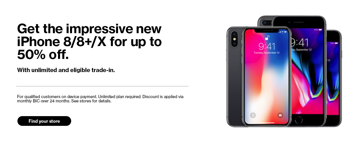 Get the impressive new iPhone 8/8+/X for up to 50% off. Find your store.